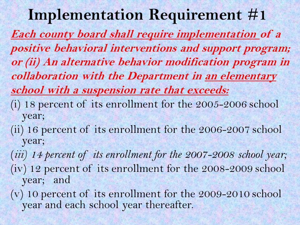 Implementation Requirement #1 Each county board shall require implementation of a positive behavioral interventions and support program; or (ii) An alternative behavior modification program in collaboration with the Department in an elementary school with a suspension rate that exceeds: (i) 18 percent of its enrollment for the 2005-2006 school year; (ii) 16 percent of its enrollment for the 2006-2007 school year; ( iii) 14 percent of its enrollment for the 2007-2008 school year; (iv) 12 percent of its enrollment for the 2008-2009 school year; and (v) 10 percent of its enrollment for the 2009-2010 school year and each school year thereafter.