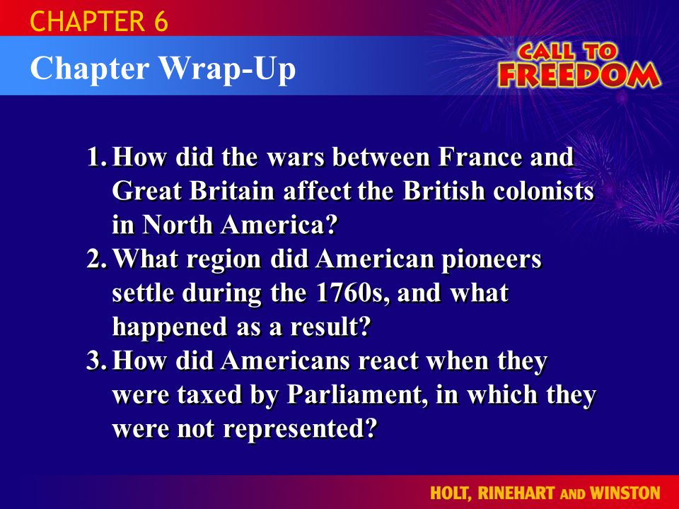 Chapter Wrap-Up CHAPTER 6 1.How did the wars between France and Great Britain affect the British colonists in North America.