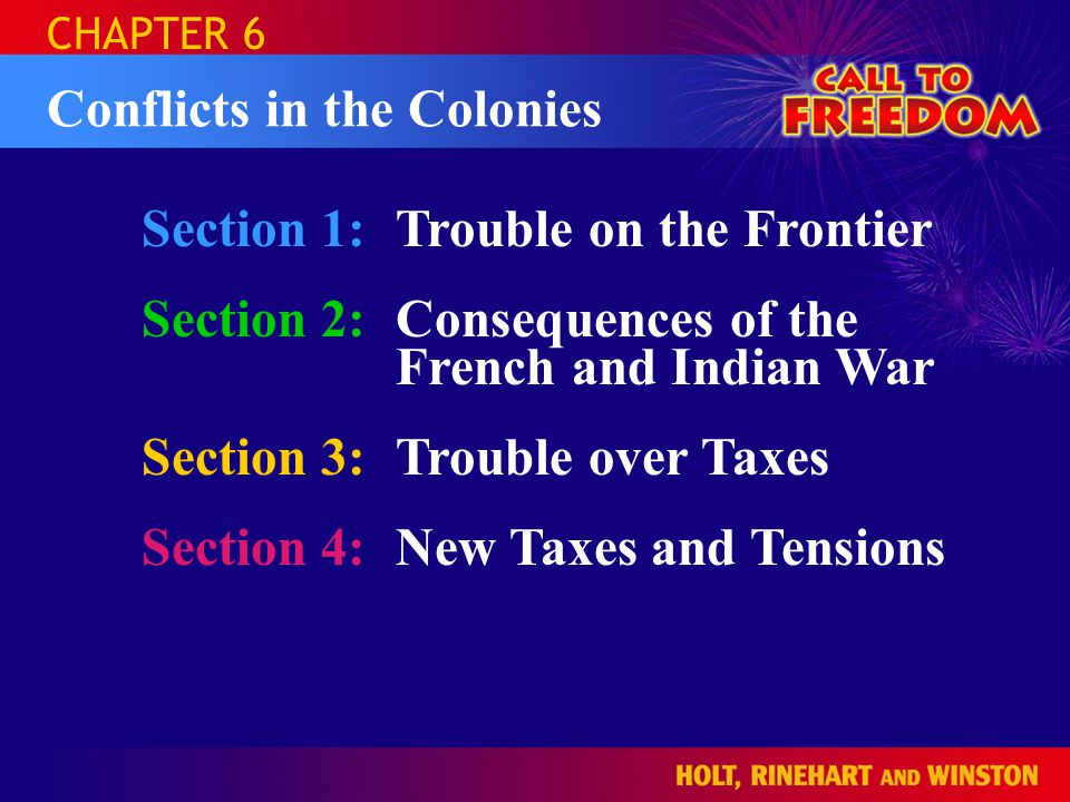 Section 1:Trouble on the Frontier Section 2:Consequences of the French and Indian War Section 3:Trouble over Taxes Section 4:New Taxes and Tensions CHAPTER 6 Conflicts in the Colonies