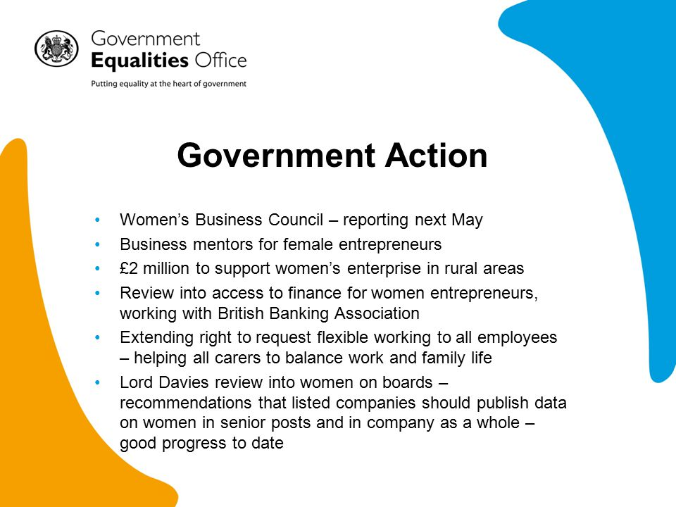 Government Action Women's Business Council – reporting next May Business mentors for female entrepreneurs £2 million to support women's enterprise in rural areas Review into access to finance for women entrepreneurs, working with British Banking Association Extending right to request flexible working to all employees – helping all carers to balance work and family life Lord Davies review into women on boards – recommendations that listed companies should publish data on women in senior posts and in company as a whole – good progress to date