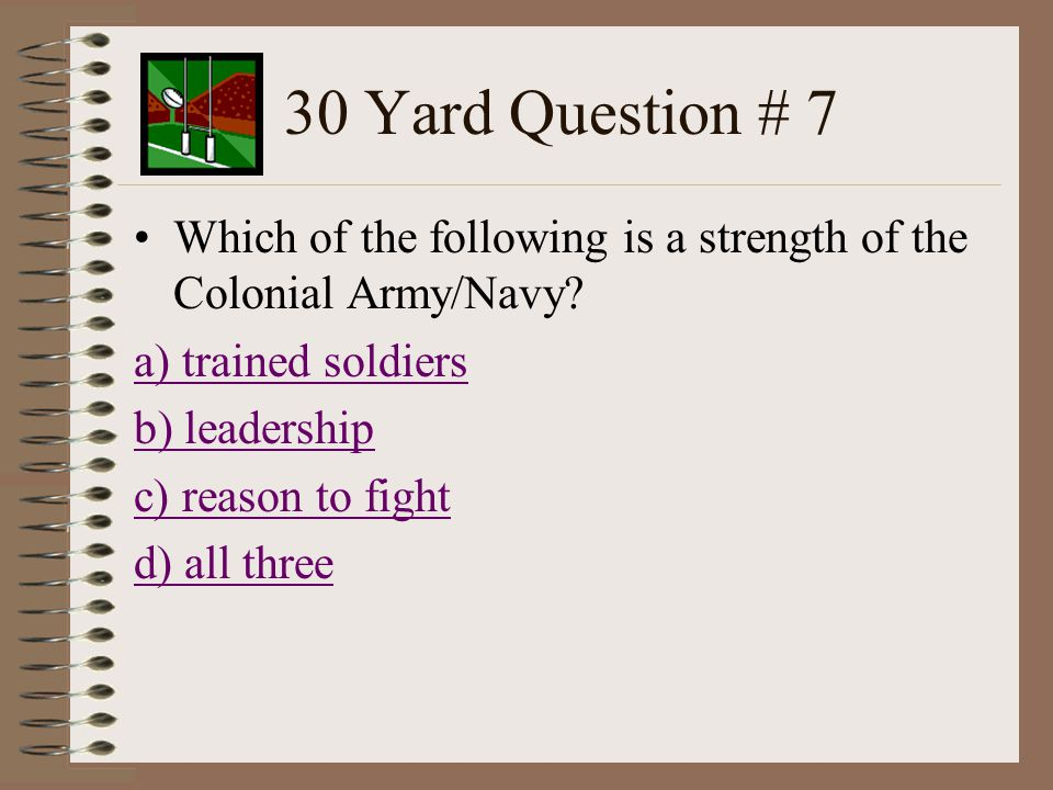 30 Yard Question # 6 Who was the leader of the Sons of Liberty.
