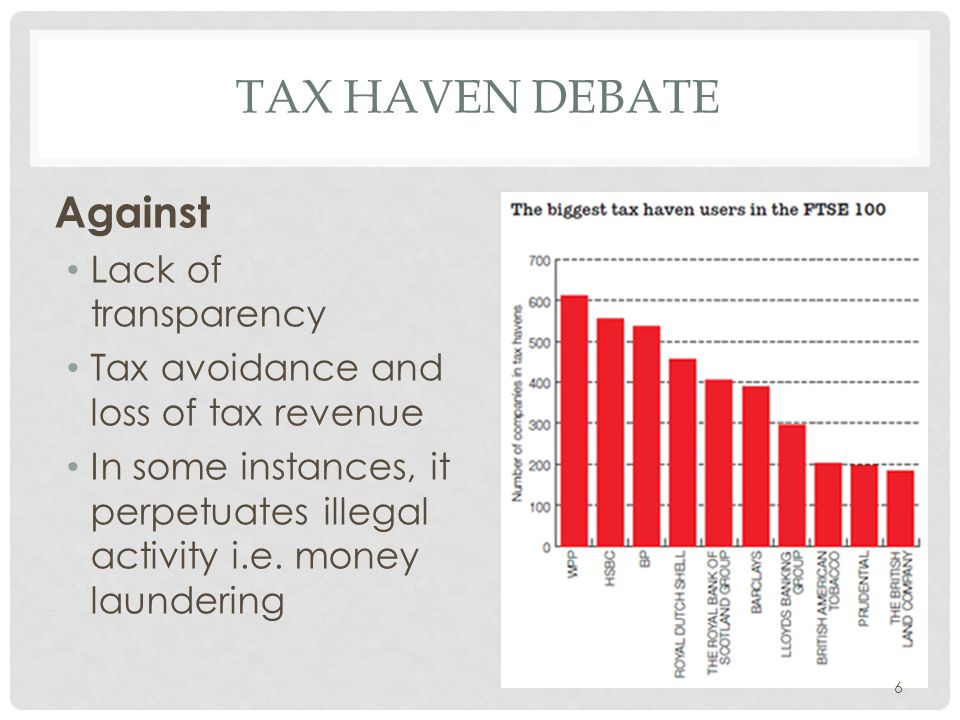 TAX HAVEN DEBATE Against Lack of transparency Tax avoidance and loss of tax revenue In some instances, it perpetuates illegal activity i.e. money laun