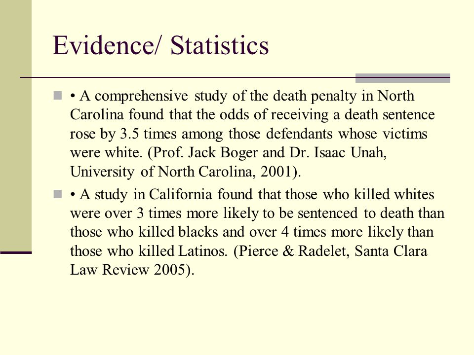 A comprehensive study of the death penalty in North Carolina found that the odds of receiving a death sentence rose by 3.5 times among those defendants whose victims were white.