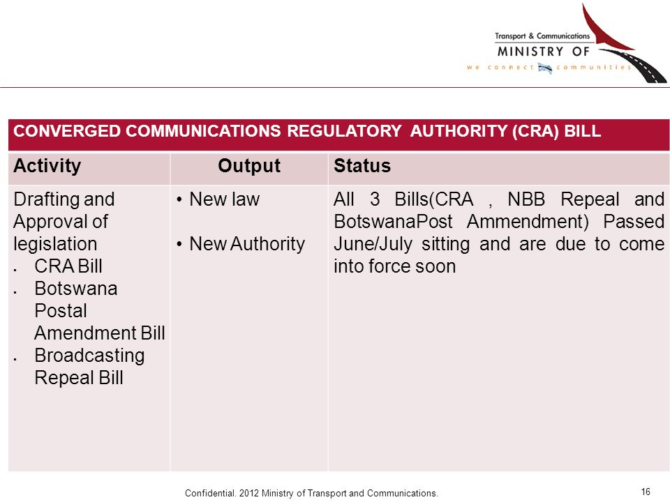16 Confidential. 2012 Ministry of Transport and Communications. CONVERGED COMMUNICATIONS REGULATORY AUTHORITY (CRA) BILL ActivityOutputStatus Drafting