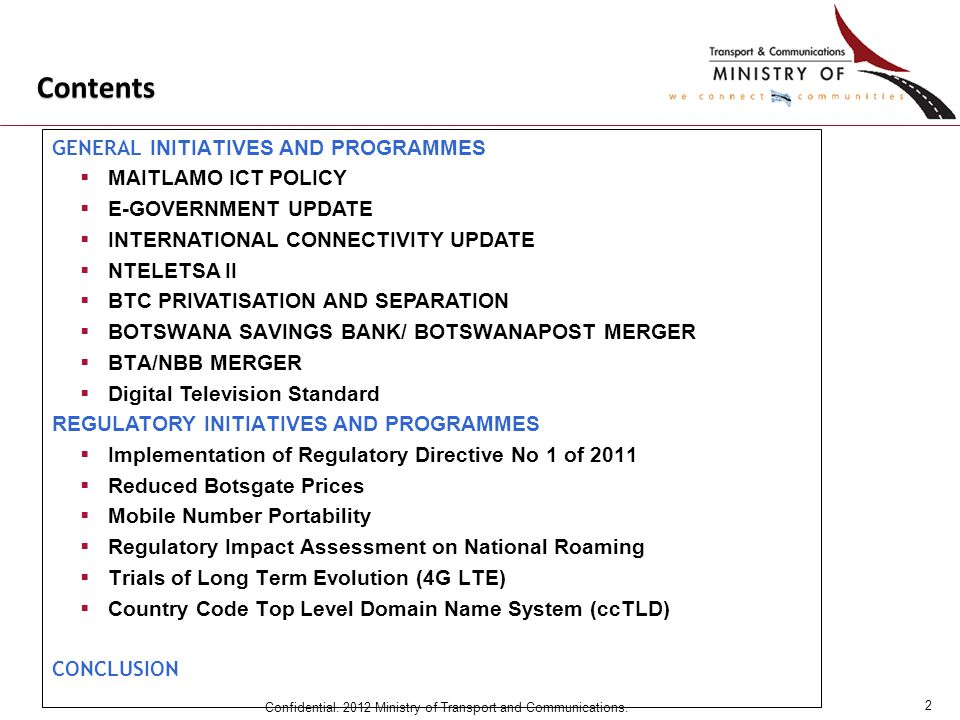13 Confidential.2012 Ministry of Transport and Communications.