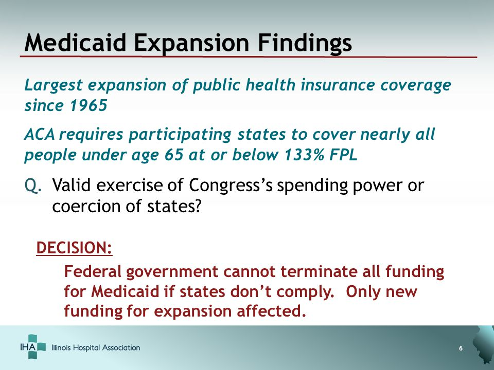 Medicaid Expansion Findings Largest expansion of public health insurance coverage since 1965 ACA requires participating states to cover nearly all people under age 65 at or below 133% FPL Q.Valid exercise of Congress's spending power or coercion of states.