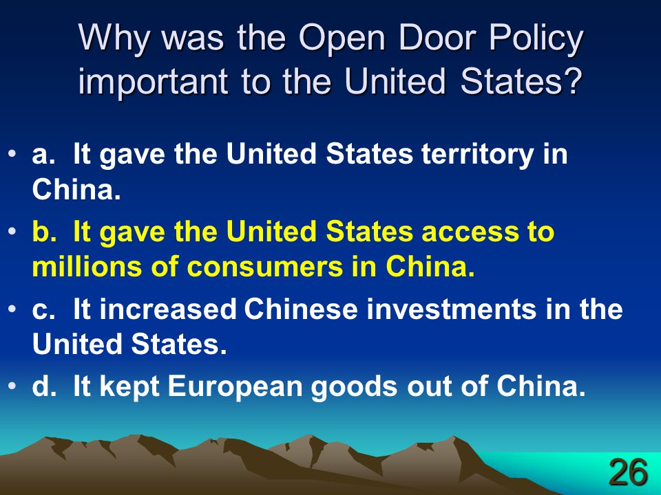 Why was the Open Door Policy important to the United States.