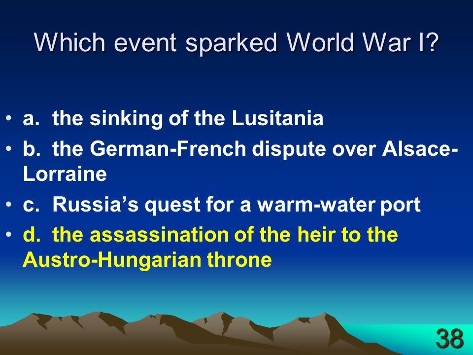 Which event sparked World War I.