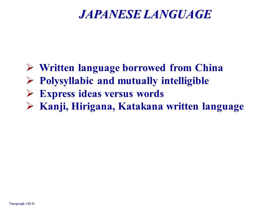 JAPANESE LANGUAGE Viewgraph #18-11  Written language borrowed from China  Polysyllabic and mutually intelligible  Express ideas versus words  Kanji, Hirigana, Katakana written language