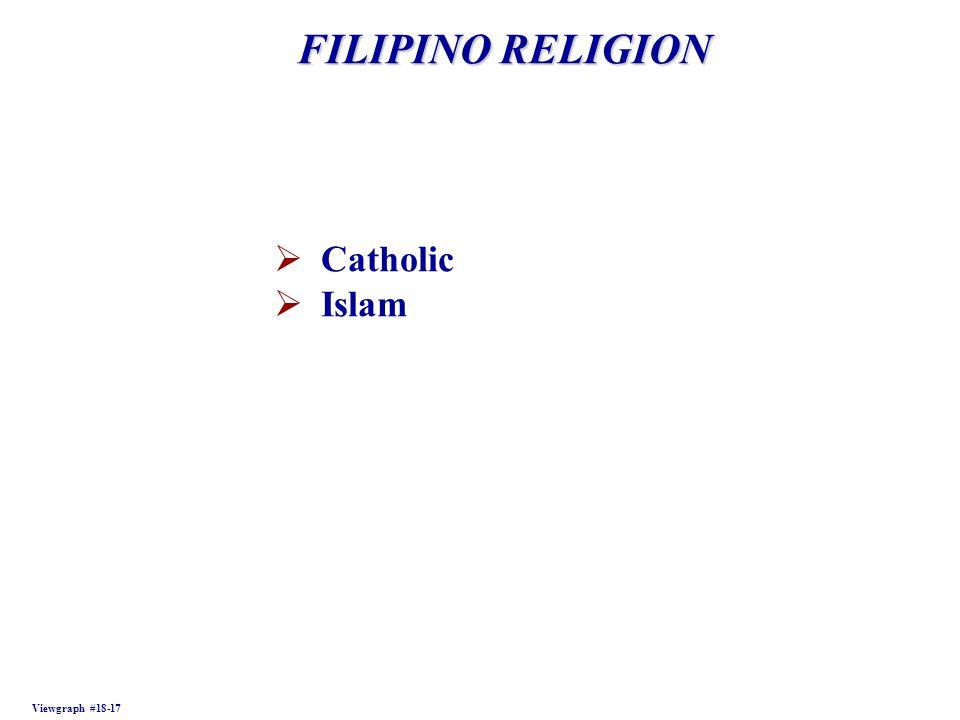FILIPINO RELIGION Viewgraph #18-17  Catholic  Islam