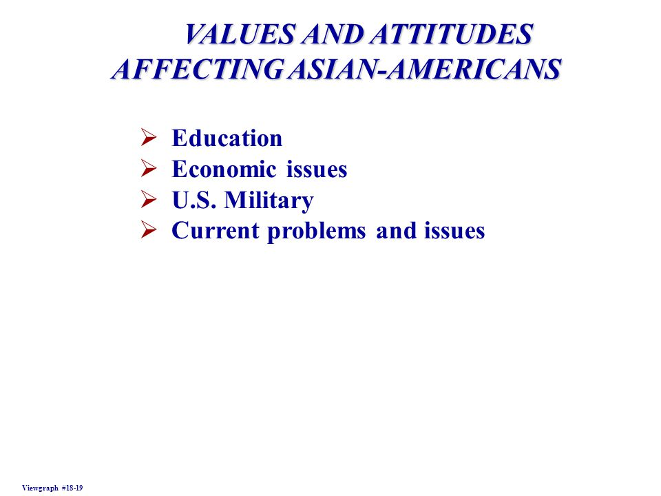 VALUES AND ATTITUDES VALUES AND ATTITUDES AFFECTING ASIAN-AMERICANS Viewgraph #18-19  Education  Economic issues  U.S.