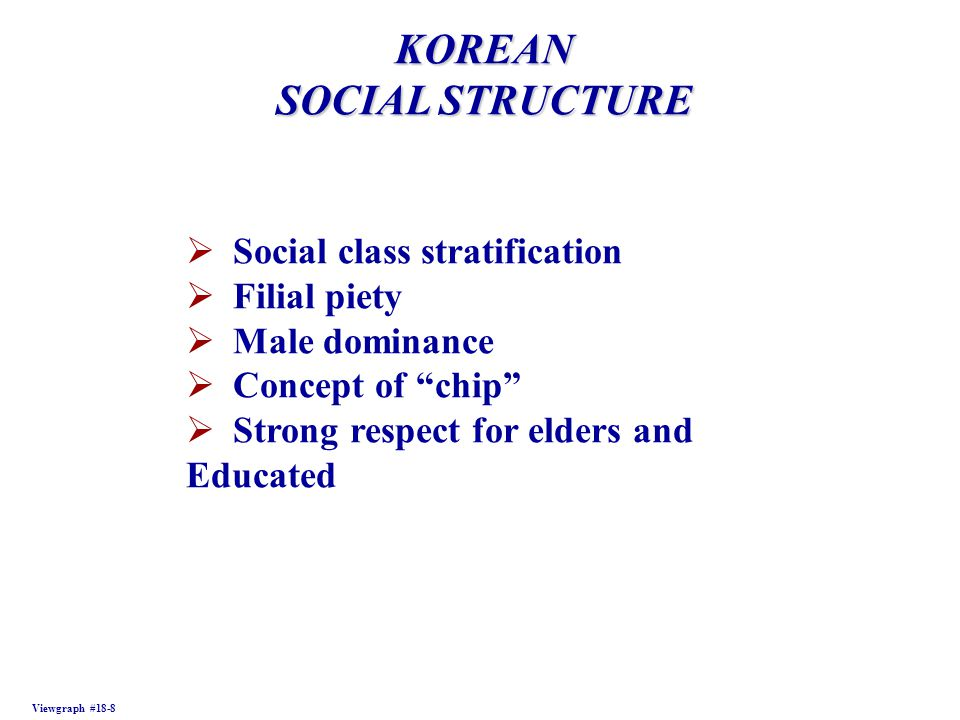 FILIPINO SOCIAL STRUCTURE Viewgraph #18-9  Affected by outside influences  Less formal family relationships  Extended family  Male-female relationship exists