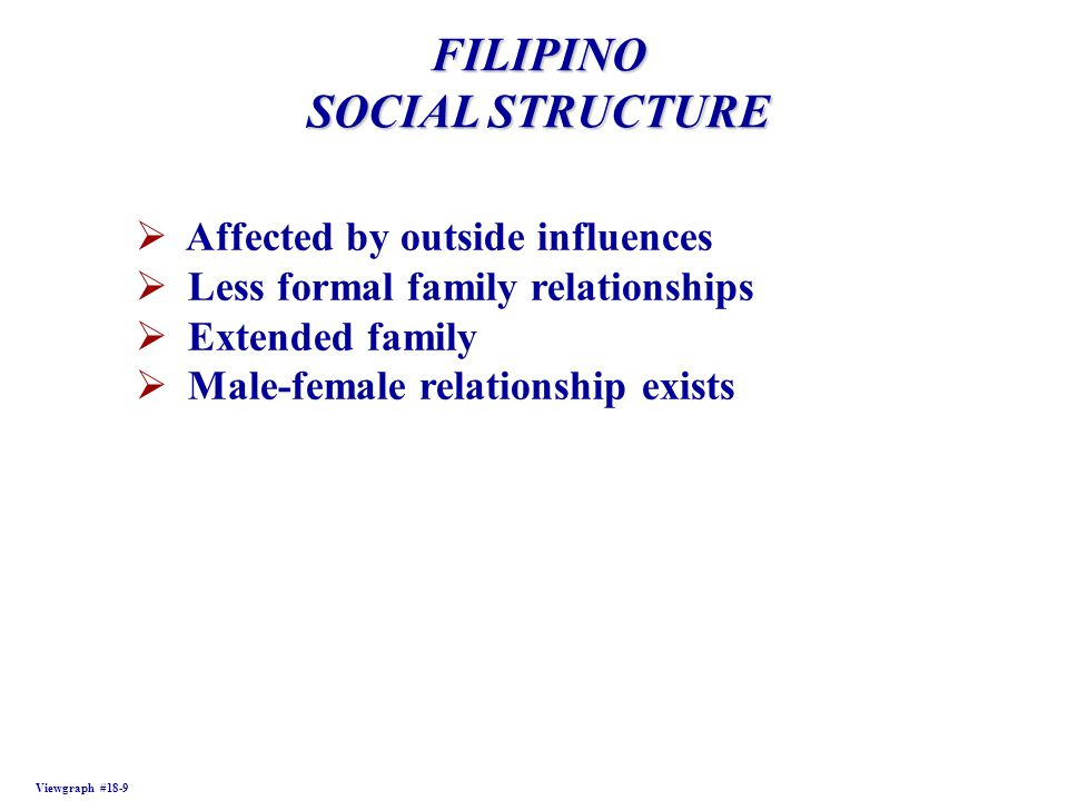 FILIPINO SOCIAL STRUCTURE Viewgraph #18-9  Affected by outside influences  Less formal family relationships  Extended family  Male-female relationship exists