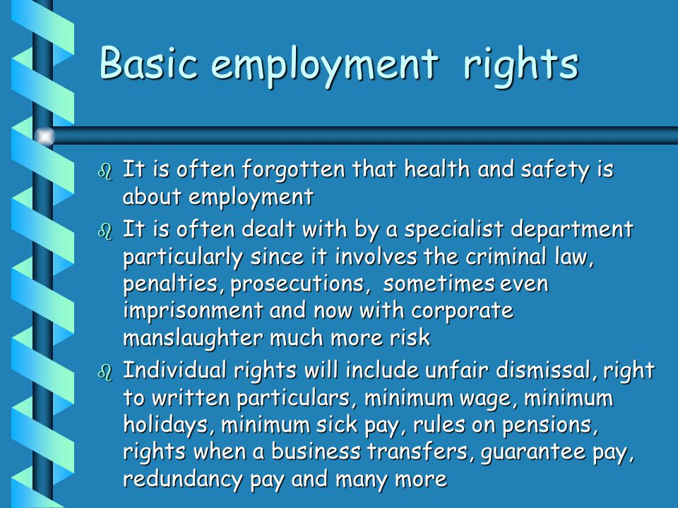 Basic employment rights  It is often forgotten that health and safety is about employment  It is often dealt with by a specialist department particularly since it involves the criminal law, penalties, prosecutions, sometimes even imprisonment and now with corporate manslaughter much more risk  Individual rights will include unfair dismissal, right to written particulars, minimum wage, minimum holidays, minimum sick pay, rules on pensions, rights when a business transfers, guarantee pay, redundancy pay and many more