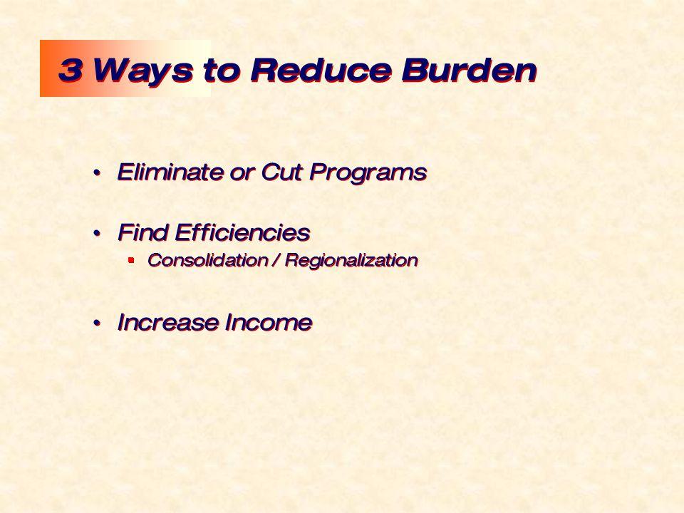 3 Ways to Reduce Burden Eliminate or Cut Programs Find Efficiencies  Consolidation / Regionalization Increase Income Eliminate or Cut Programs Find Efficiencies  Consolidation / Regionalization Increase Income