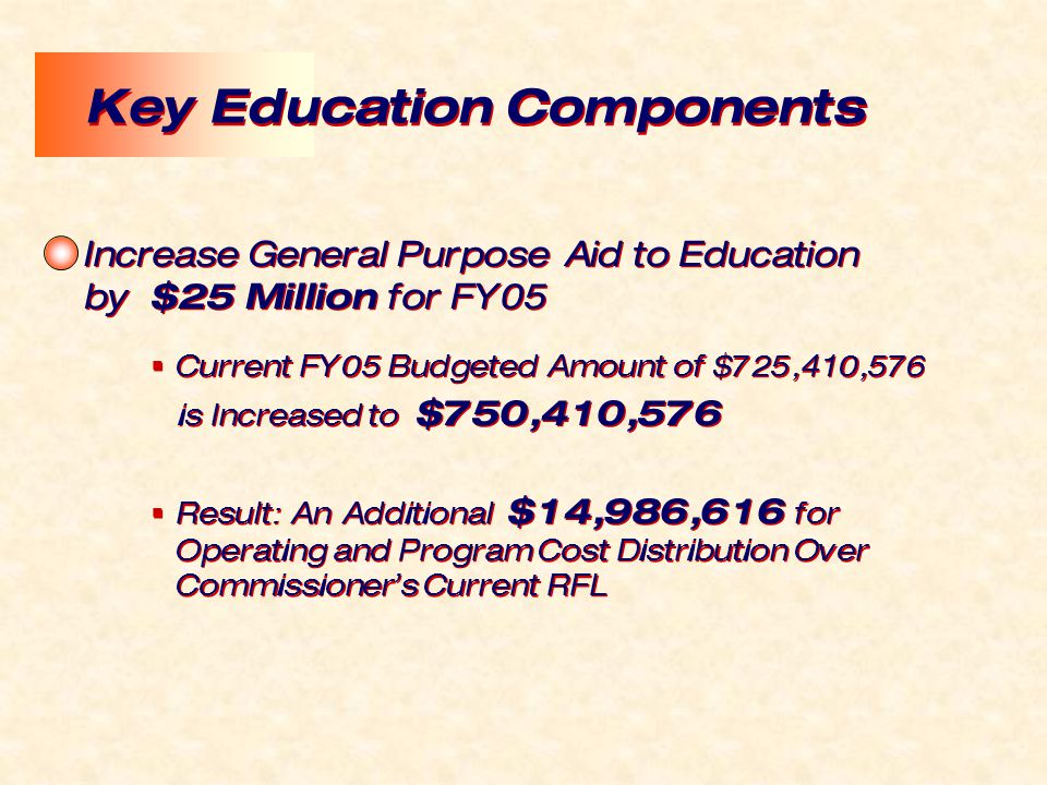 Increase General Purpose Aid to Education by $25 Million for FY05  Current FY05 Budgeted Amount of $725,410,576 is Increased to $750,410,576  Result: An Additional $14,986,616 for Operating and Program Cost Distribution Over Commissioner's Current RFL Increase General Purpose Aid to Education by $25 Million for FY05  Current FY05 Budgeted Amount of $725,410,576 is Increased to $750,410,576  Result: An Additional $14,986,616 for Operating and Program Cost Distribution Over Commissioner's Current RFL Key Education Components
