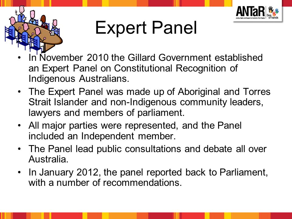 Expert Panel In November 2010 the Gillard Government established an Expert Panel on Constitutional Recognition of Indigenous Australians. The Expert P