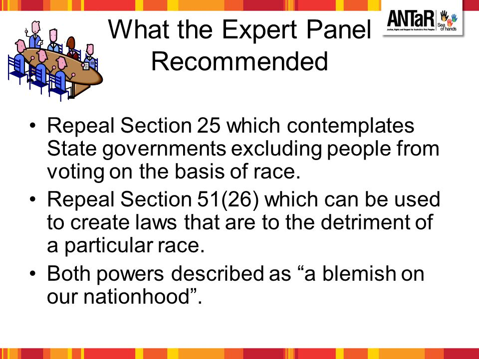 What the Expert Panel Recommended Repeal Section 25 which contemplates State governments excluding people from voting on the basis of race. Repeal Sec
