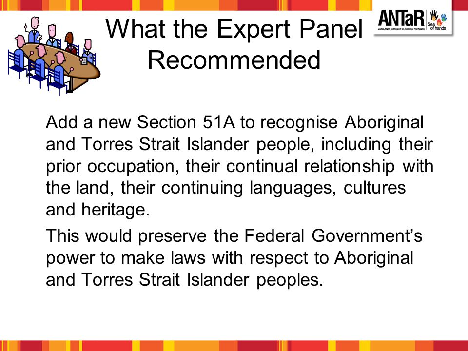 What the Expert Panel Recommended Add a new Section 51A to recognise Aboriginal and Torres Strait Islander people, including their prior occupation, t