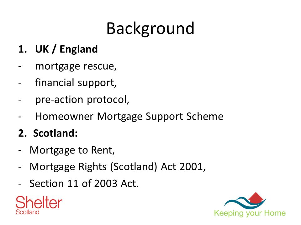 Background 1.UK / England -mortgage rescue, -financial support, -pre-action protocol, -Homeowner Mortgage Support Scheme 2.