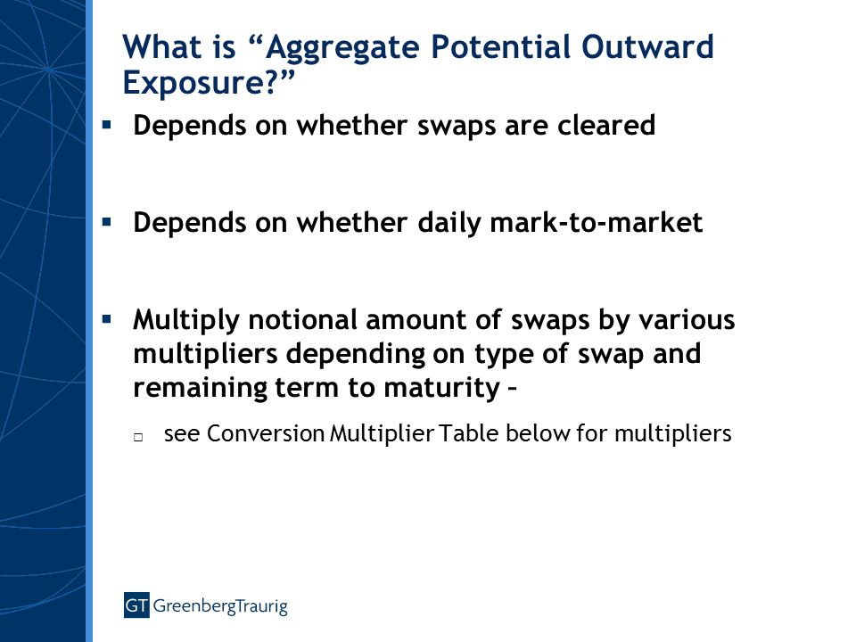What is Aggregate Potential Outward Exposure  Depends on whether swaps are cleared  Depends on whether daily mark-to-market  Multiply notional amount of swaps by various multipliers depending on type of swap and remaining term to maturity – □ see Conversion Multiplier Table below for multipliers