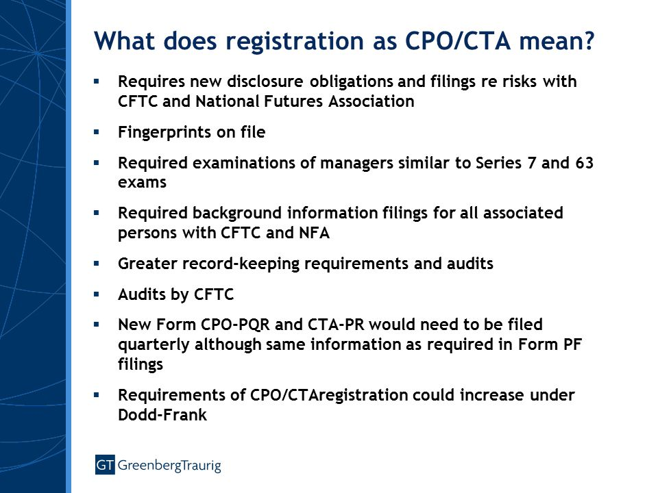 What does registration as CPO/CTA mean.