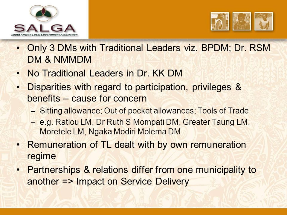 Only 3 DMs with Traditional Leaders viz. BPDM; Dr.