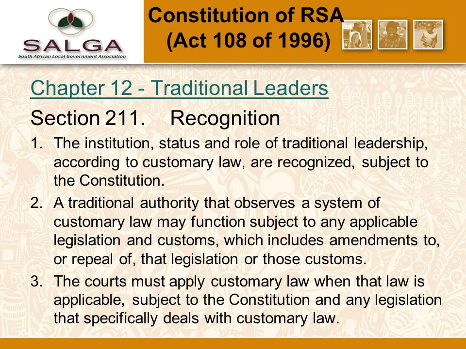 Chapter 12 - Traditional Leaders Section 211.