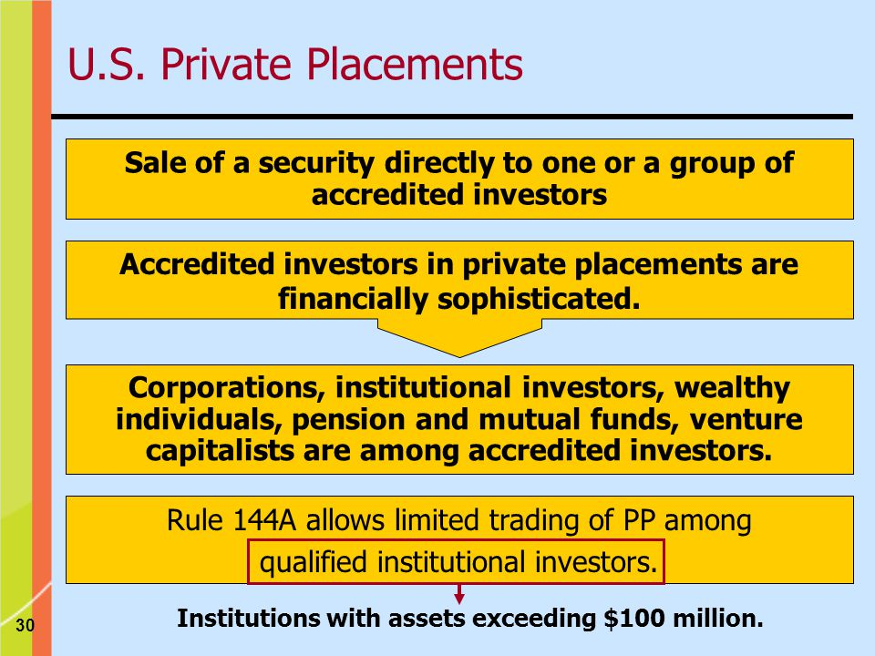 30 Sale of a security directly to one or a group of accredited investors Accredited investors in private placements are financially sophisticated.