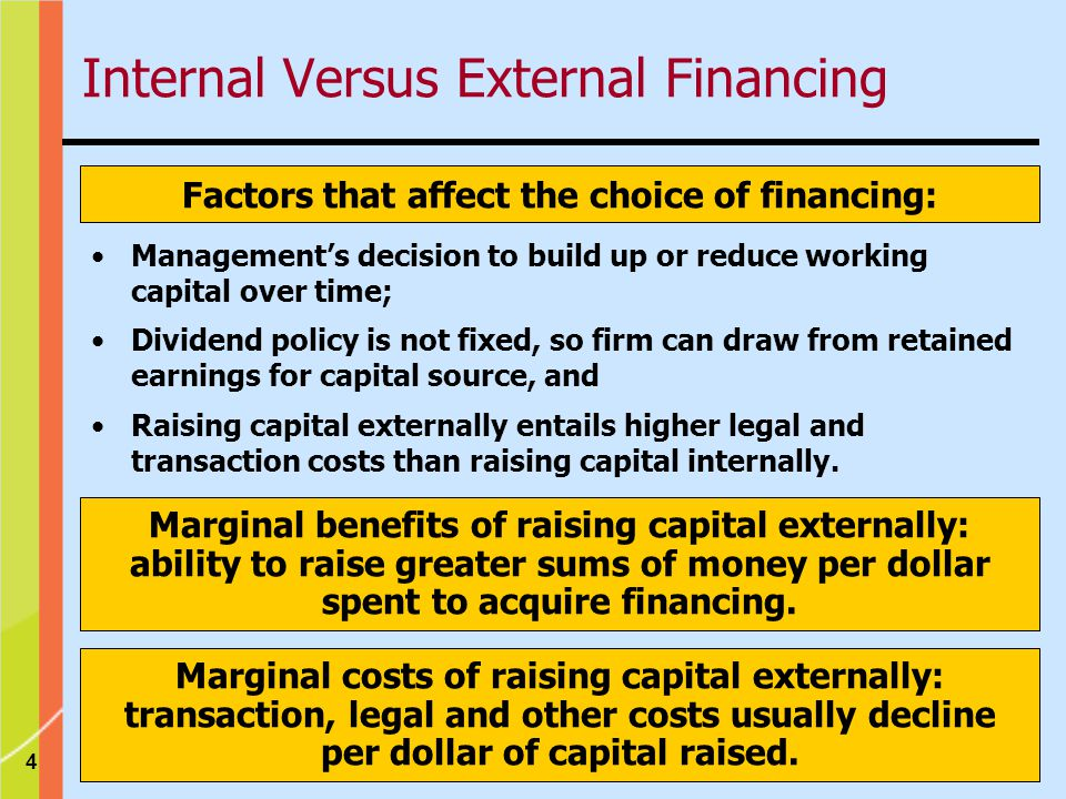 4 Factors that affect the choice of financing: Management's decision to build up or reduce working capital over time; Dividend policy is not fixed, so firm can draw from retained earnings for capital source, and Raising capital externally entails higher legal and transaction costs than raising capital internally.