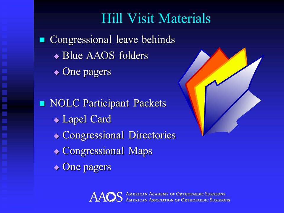 Hill Visit Materials Congressional leave behinds Congressional leave behinds  Blue AAOS folders  One pagers NOLC Participant Packets NOLC Participant Packets  Lapel Card  Congressional Directories  Congressional Maps  One pagers