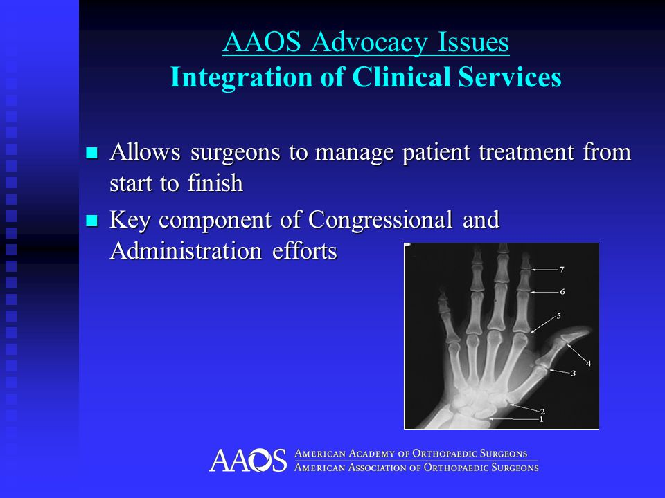 AAOS Advocacy Issues Integration of Clinical Services Allows surgeons to manage patient treatment from start to finish Allows surgeons to manage patient treatment from start to finish Key component of Congressional and Administration efforts Key component of Congressional and Administration efforts