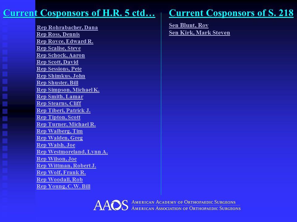 Current Cosponsors of H.R. 5 ctd… Rep Rohrabacher, Dana Rep Ross, Dennis Rep Royce, Edward R.