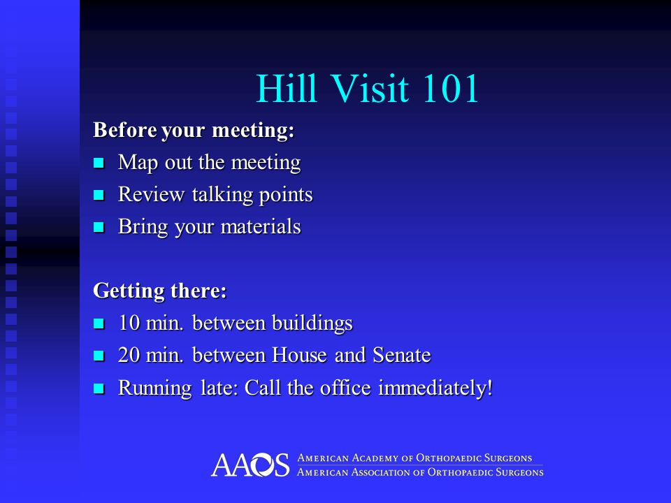 AAOS Advocacy Issues Medical Liability Reform Congress should pass legislation that: Includes time tested, reasonable limits on non- economic damages such as successful reforms in California and Texas.