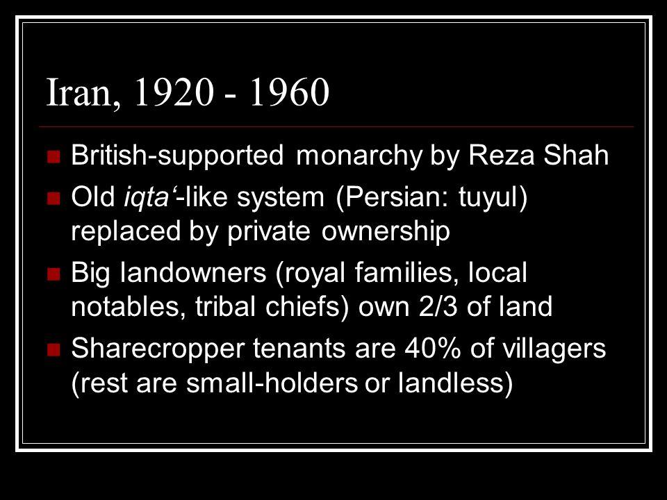 Shah's Land Reform, 1960s Motives: Weakening the landowning classes Thwarting communist revolution Transition from 'feudalism' to capitalism