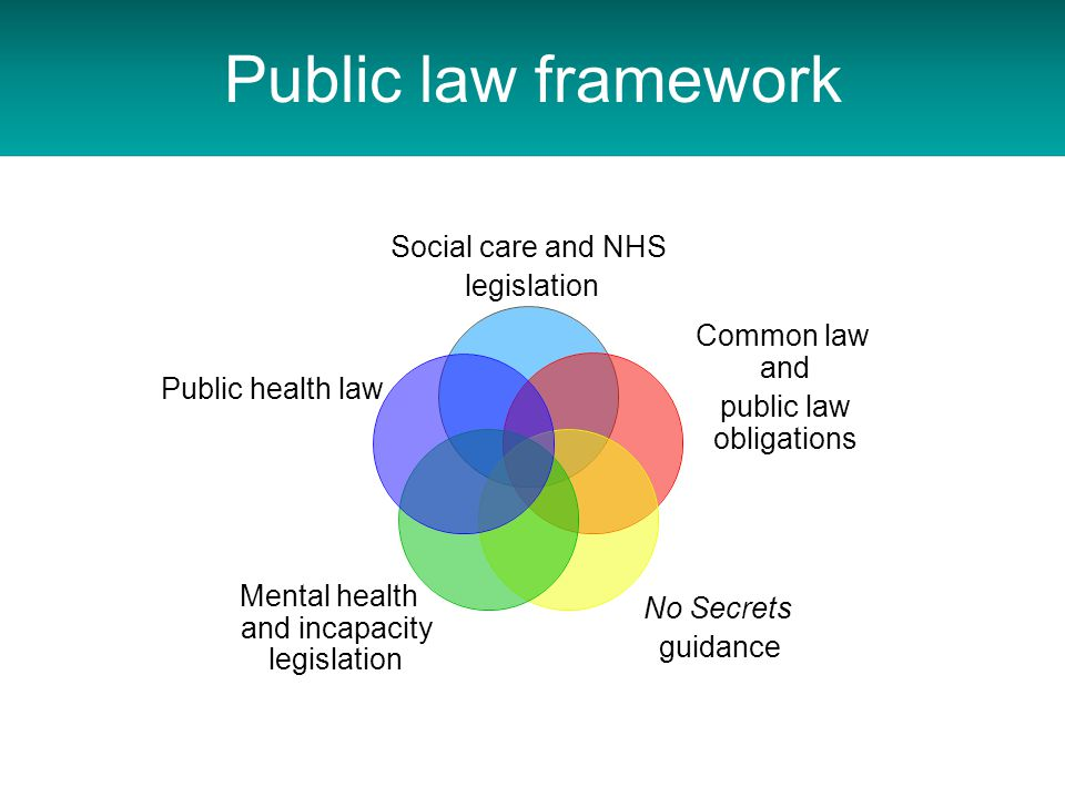 Public law framework Social care and NHS legislation Common law and public law obligations No Secrets guidance Mental health and incapacity legislation Public health law