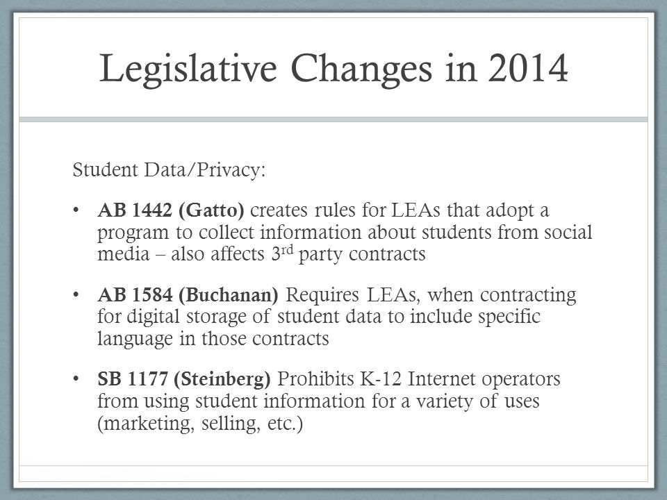 Want a full report of changes in K- 12 education law in 2014.