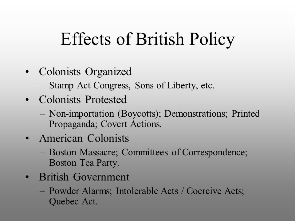 Effects of British Policy Colonists Organized –Stamp Act Congress, Sons of Liberty, etc. Colonists Protested –Non-importation (Boycotts); Demonstratio