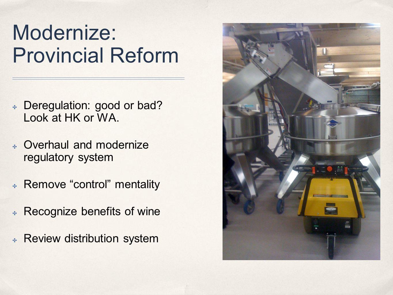 Modernize: Provincial Reform ✤ Deregulation: good or bad.