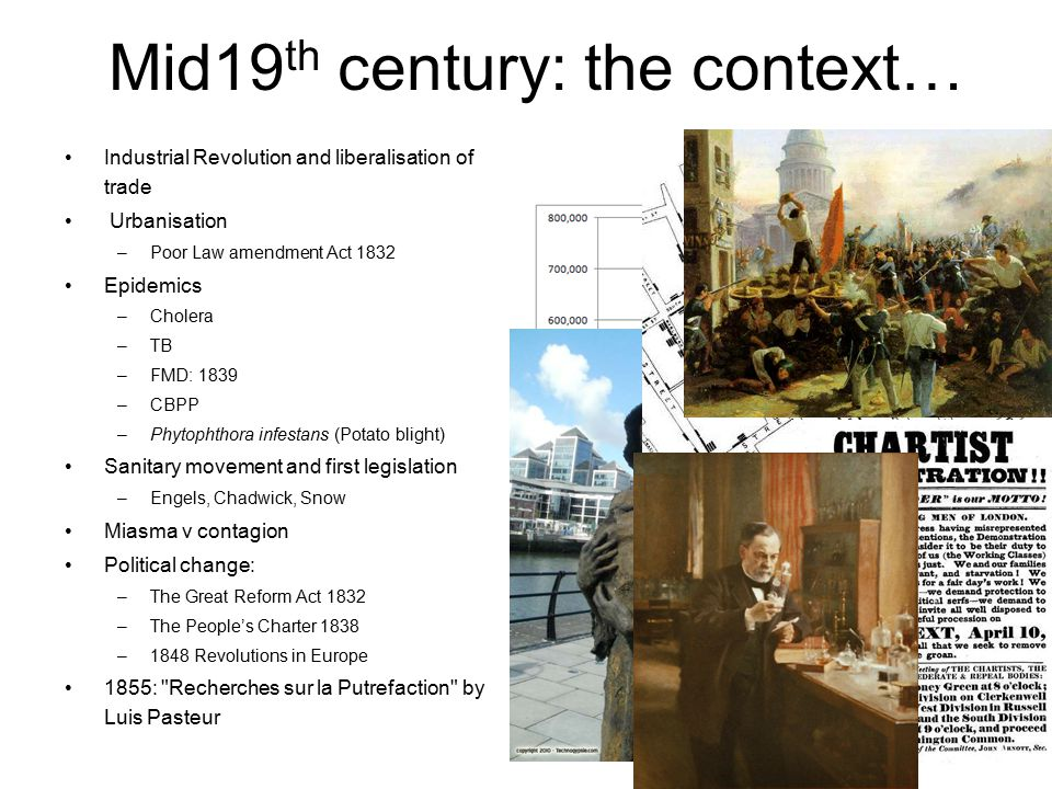 Mid19 th century: the context… Industrial Revolution and liberalisation of trade Urbanisation –Poor Law amendment Act 1832 Epidemics –Cholera –TB –FMD: 1839 –CBPP –Phytophthora infestans (Potato blight) Sanitary movement and first legislation –Engels, Chadwick, Snow Miasma v contagion Political change: –The Great Reform Act 1832 –The People's Charter 1838 –1848 Revolutions in Europe 1855: Recherches sur la Putrefaction by Luis Pasteur