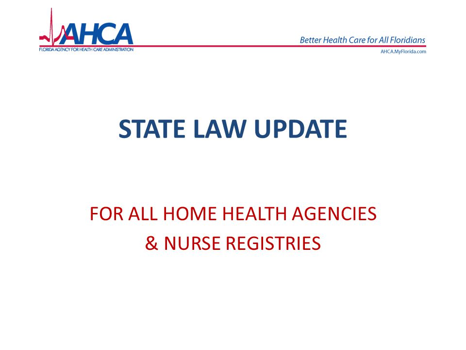 Home health agency rule repeals 2.59A-8.0185 – Personnel policies Joint Administrative Procedures Committee legal review found that AHCA no longer had legal authority for this rule What requirements will be removed when this rule is repealed: Health statements from employees A plan for orientation of all health personnel Job descriptions A file for each employee - with name, address, next of kin for contact, evidence of qualifications, the results of background screening, dates of employment and separation, and evidence of training.