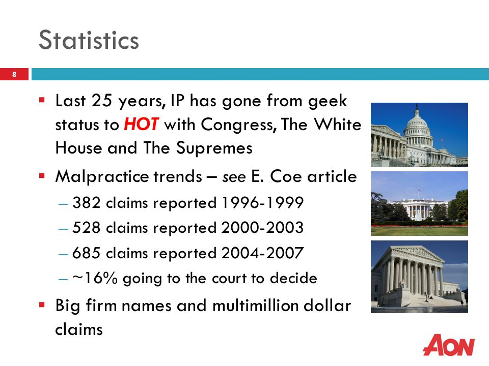 Statistics  Last 25 years, IP has gone from geek status to HOT with Congress, The White House and The Supremes  Malpractice trends – see E. Coe arti