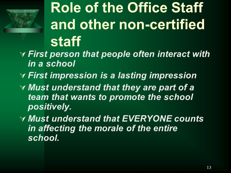 13 Role of the Office Staff and other non-certified staff  First person that people often interact with in a school  First impression is a lasting impression  Must understand that they are part of a team that wants to promote the school positively.