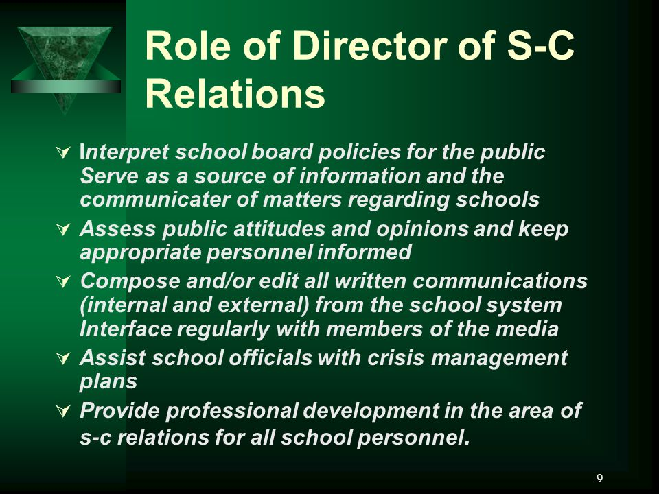 9 Role of Director of S-C Relations  Interpret school board policies for the public Serve as a source of information and the communicater of matters regarding schools  Assess public attitudes and opinions and keep appropriate personnel informed  Compose and/or edit all written communications (internal and external) from the school system Interface regularly with members of the media  Assist school officials with crisis management plans  Provide professional development in the area of s-c relations for all school personnel.