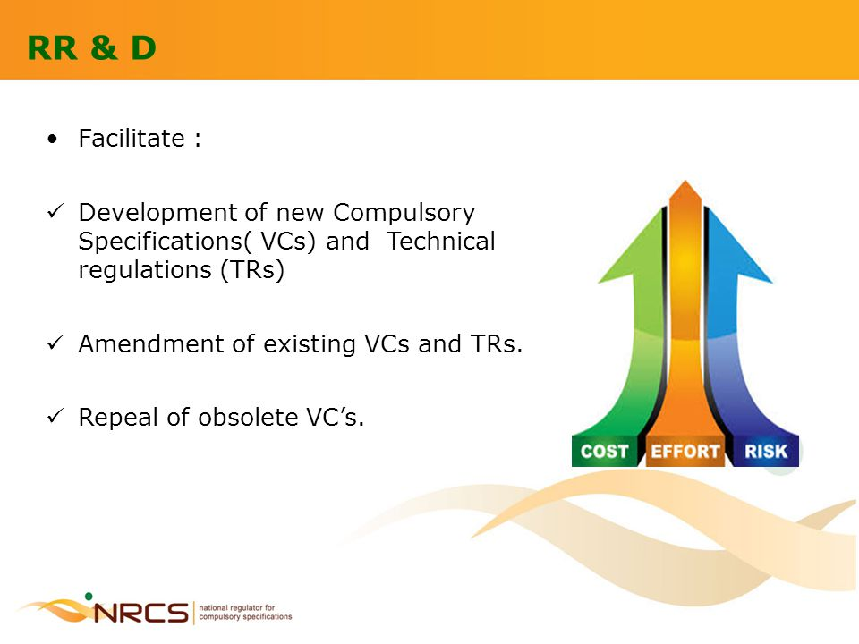 RR & D Facilitate : Development of new Compulsory Specifications( VCs) and Technical regulations (TRs) Amendment of existing VCs and TRs. Repeal of ob
