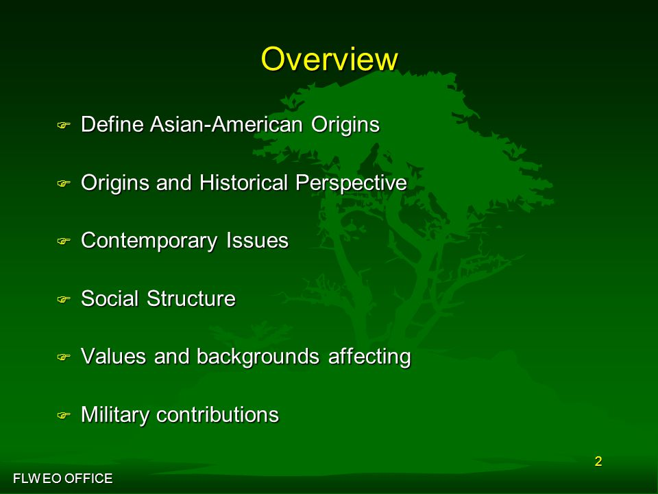 FLW EO OFFICE 2 Overview F Define Asian-American Origins F Origins and Historical Perspective F Contemporary Issues F Social Structure F Values and backgrounds affecting F Military contributions