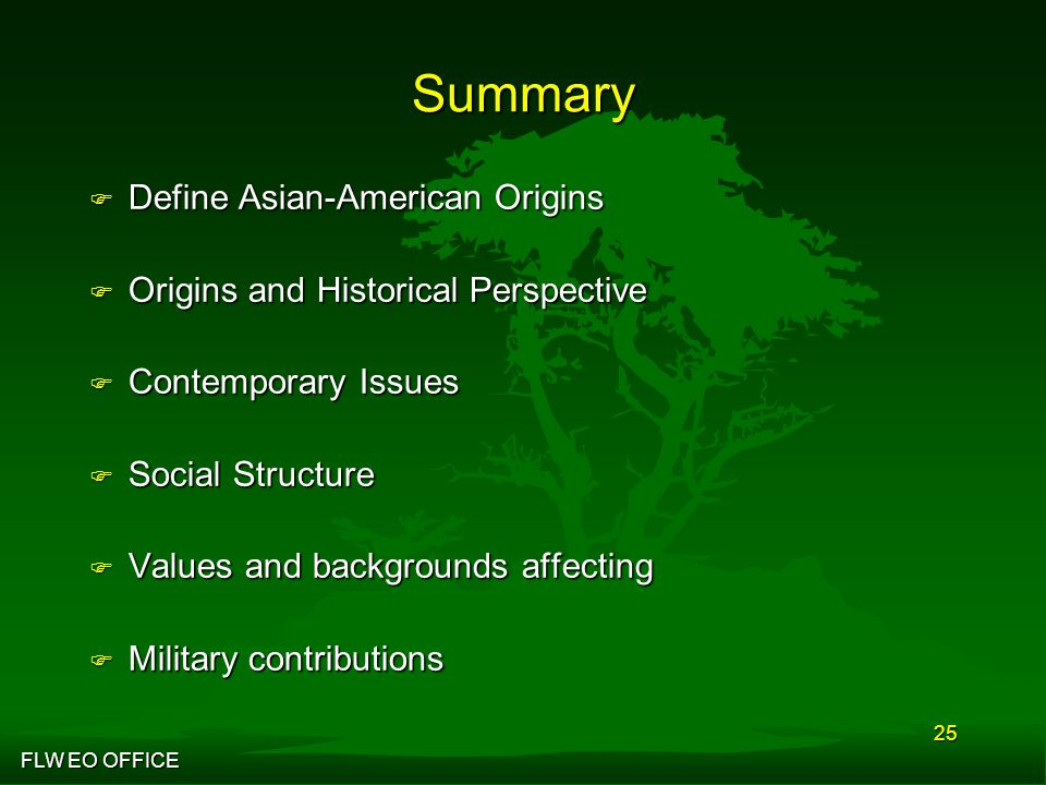 FLW EO OFFICE 25 Summary F Define Asian-American Origins F Origins and Historical Perspective F Contemporary Issues F Social Structure F Values and backgrounds affecting F Military contributions
