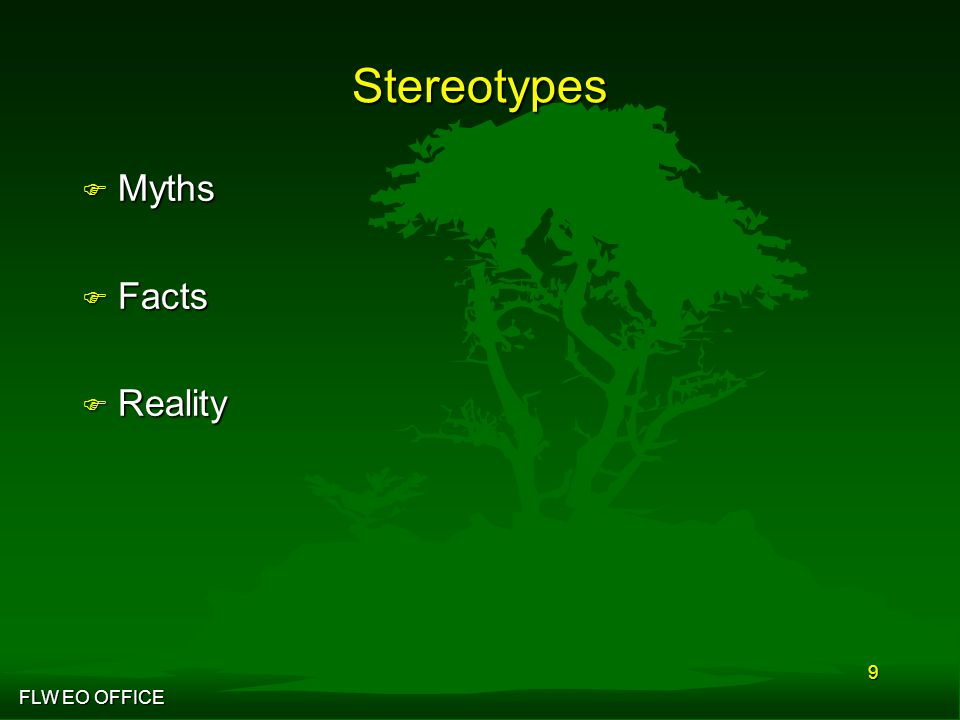 FLW EO OFFICE 9 Stereotypes F Myths F Facts F Reality