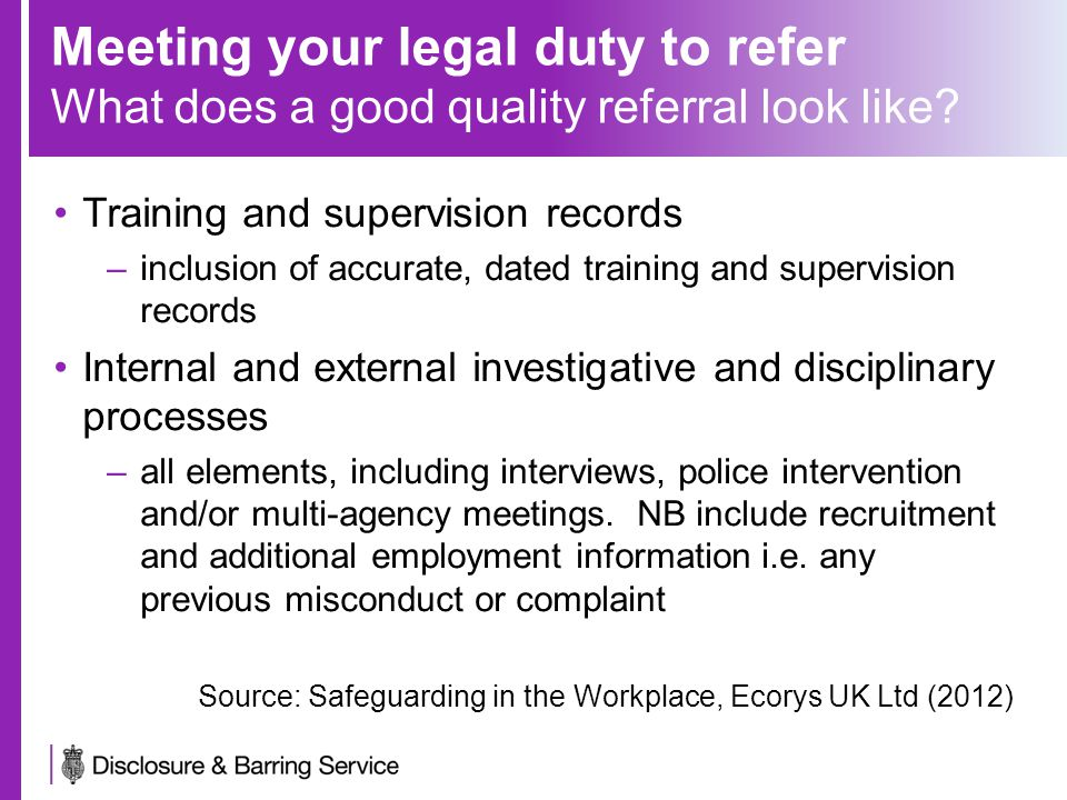 Meeting your legal duty to refer What does a good quality referral look like.