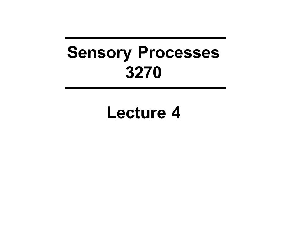 Sensory Processes 3270 Lecture 4